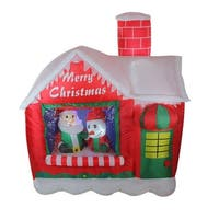 5.5' Inflatable Santa's Workshop Lighted Christmas Outdoor Decoration - RED