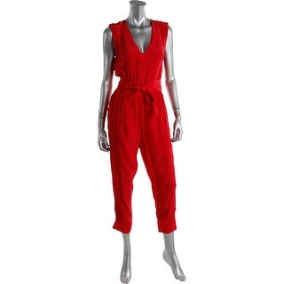 Tracy Reese Womens Shirred Sleeveless Jumpsuit - S