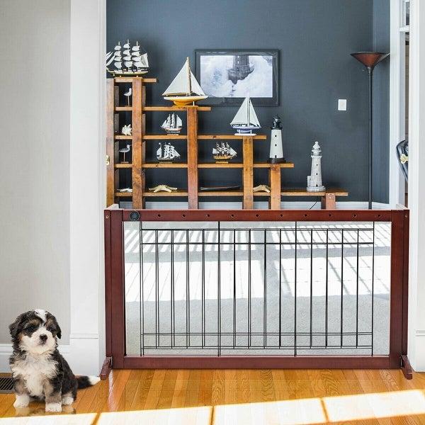 Adjustable Wood Dog Gate Indoor Solid Construction Pet Fence Playpen Free Stand
