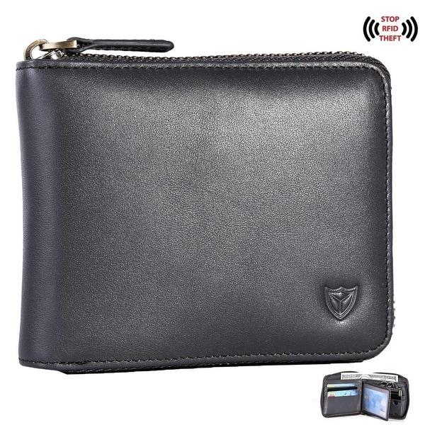 Metal Zip-around Black Quality Soft Genuine Leather Wallet Zipper-around