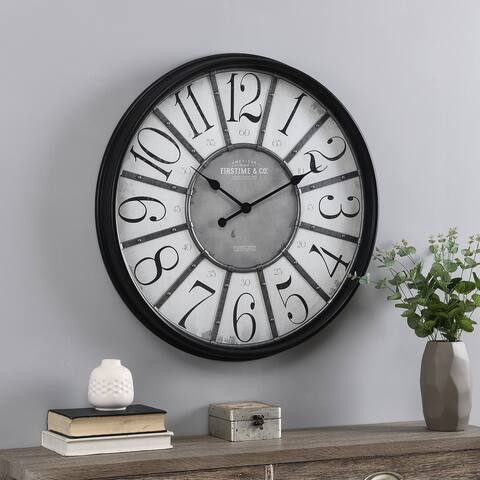 FirsTime & Co.® Black Anderson Farmhouse Clock, American Crafted, Aged Black, Plastic, 29 x 2.25 x 29 in - 29 x 2.25 x 29 in