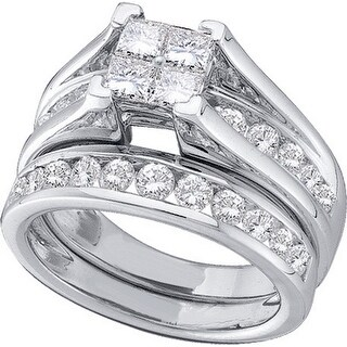 10k White Gold Princess Natural Diamond Womens Wedding Bridal Ring Set .47 Cttw