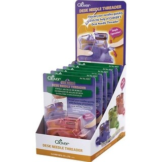 2 Each Of 3 Colors: Pink; Green; Purple - Clover Desk Needle Threader Assortment Display 6/Pkg