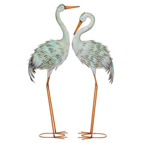"Tall Multi-Colored Crane Metal Garden Sculptures Set Of 2 39"" 41"""