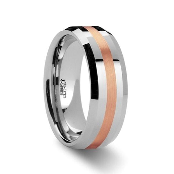 THORSTEN - CHIRON Rose Gold Inlaid Beveled Tungsten Ring - 6mm