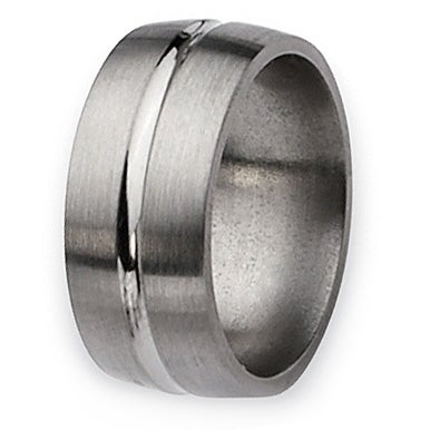 Chisel Grooved Brushed and Polished Titanium Ring (10.0 mm)