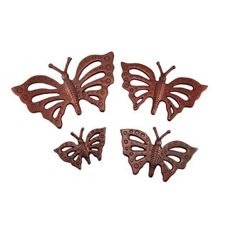 Set of 4 Copper Finish Metal Butterfly Wall Hangings