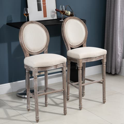 HOMCOM Vintage Wooden Pub Bar Stool 2PCs Set Soft Seat Cushion With Footrest Rubber Wood Linen Cream