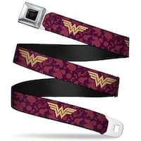 Wonder Woman Black Silver Wonder Woman Logo Floral Collage Purple Pinks Seatbelt Belt