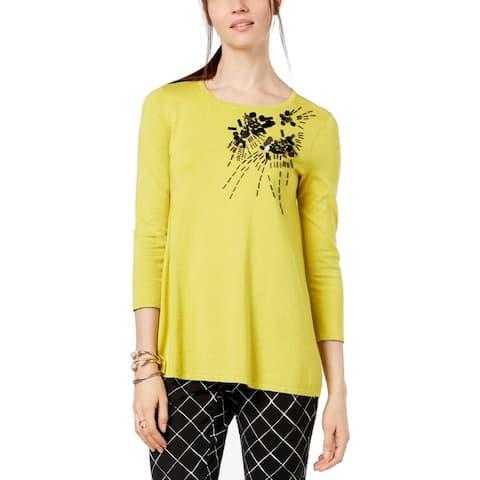 Alfani Women's Embellished 3/4-Sleeve Sweater, (Yellow Medium)