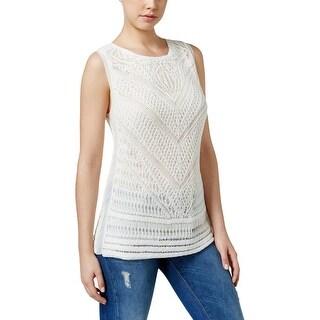 Lucky Brand Womens Tank Top Crocheted Hi-Low - xL