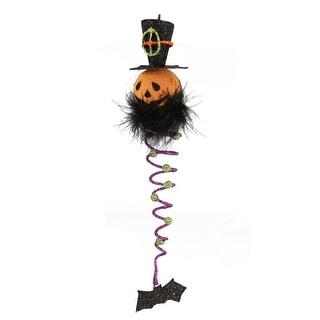 "10.5"" Jack-o-Lantern Pumpkin Purple Spiral Dangle Halloween Ornament with Bat"