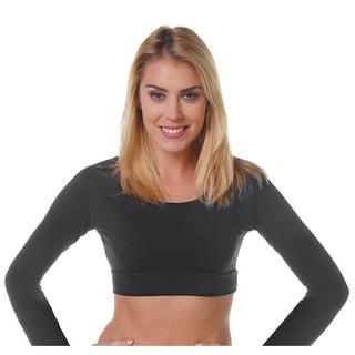 Women's Elegant Long Sleeve Half Undershirt - Layering Crop Top