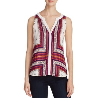 Sanctuary Womens Button-Down Top Printed Back Slit