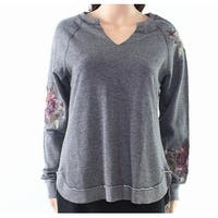 Democracy Gray Womens Size Small S Embroidered Pullover Sweater