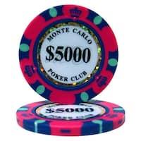 Roll of 25 - $5,000 Monte Carlo 14 Gram Poker Chips