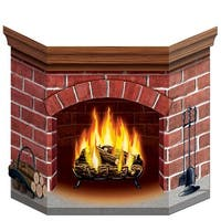 """Pack of 6 Yuletide Fireplace Stand-up Cutout Christmas Decorations 36"""" - RED"""