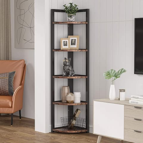 Rustic 5 Tier Corner Shelf Stand,Corner Bookshelf Bookcase Plant Shelf