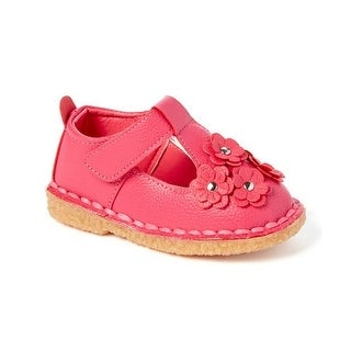 Little Girls Fuchsia Floral Applique T-Strap Mary Jane Shoes 5-10 Toddler