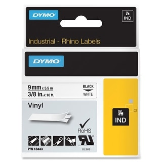 "Dymo 18443 3/8"" Vinyl tape Rhino Labels - White - black,white"