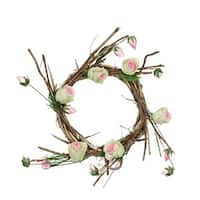 "11"" Brown, Cream and Pink Decorative Artificial Spring Floral Twig Wreath - Unlit - brown"