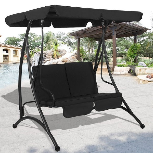 Costway Black 2 Person Canopy Swing Chair Patio Hammock Seat Cushioned Furniture Steel