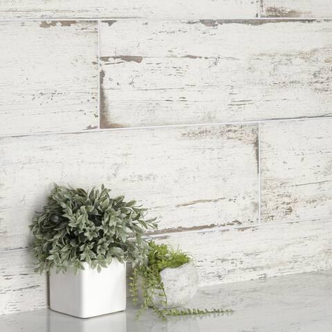 "SomerTile Retro Blanc 8.25"" x 23.5"" Porcelain Floor and Wall Tile"