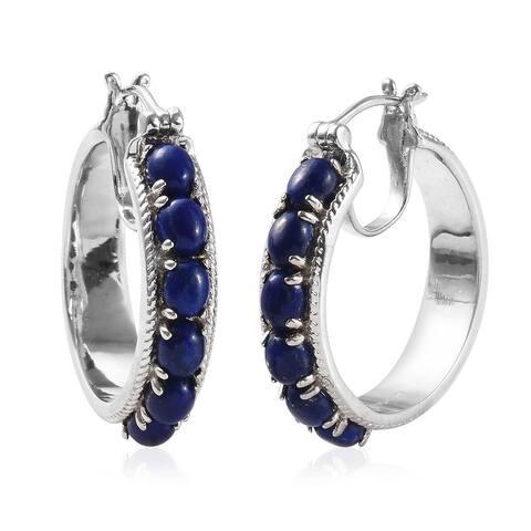 Silvertone Lapis Lazuli Hoop Earrings in Platinum Bond Ct 5.8