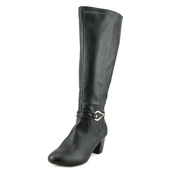 Karen Scott Gaffar Wide Calf Women Round Toe Synthetic Black Knee High Boot