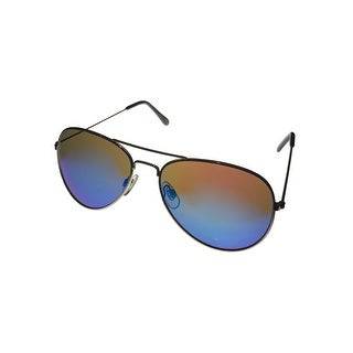 Perry Ellis Mens Sunglass PE47 2 Classic Gold Metal Avaitor, Blue Flash Lens - Medium