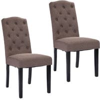 Costway Set of 2 Fabric Wood Accent Dining Chair Tufted Modern Living Room Furniture