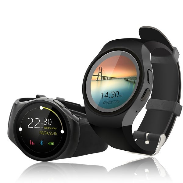 Indigi® Deluxe A18 (3G Unlocked) SmartWatch & Phone - Bluetooth 4.0 Sync + Pedometer + Heart Rate Sensor + Notification - Black