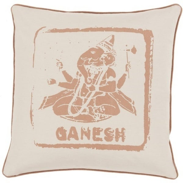 "22"" Tawny and Oat Brown Ganesh Big Kid Blocks Decorative Square Throw Pillow"