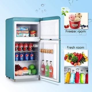 "Link to 3.2 Cu.Ft Classic Retro Refrigerator 2 Door Mini Refrigerator - 7'10"" x 10'6"" Similar Items in Large Appliances"