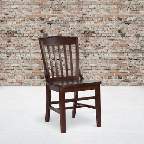 """School House Back Wooden Restaurant Dining Chair - 18.5""""W x 21.5""""D x 35""""H"""