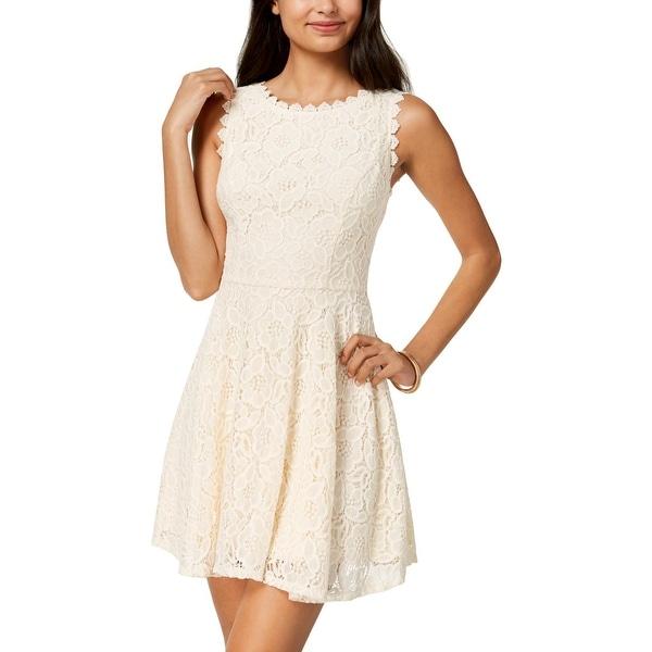 25c23aa75b6cc7 Shop City Triangles Womens Juniors Mini Dress Lace Fit & Flare ...