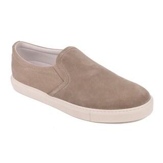 Brunello Cucinelli Dark Grey Suede Canvas Slip On Sneakers