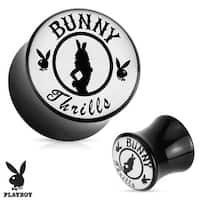 """Bunny Thrills"" Playboy Exclusive Pattern Black Acrylic Saddle Plug (Sold Individually)"