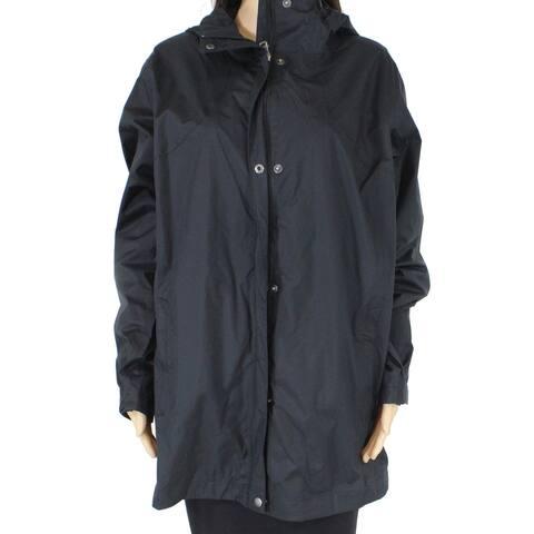 Columbia Women's Rain Jacket Black Size 1X Plus Hooded Omni-Tech