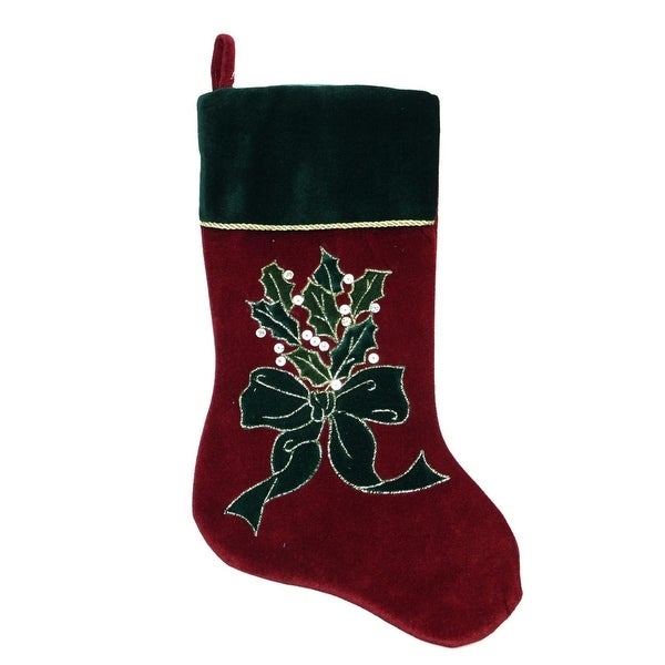 "20"" Burgundy Red and Dark Green Velveteen Christmas Stocking with Bow and Holly Berry"