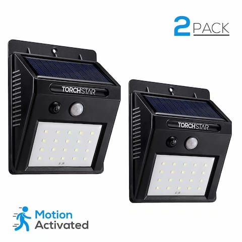 2PACK Motion Sensor Wireless Solar Powered Outdoor Security Wall Pack