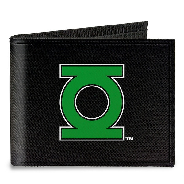 Green Lantern Logo Close Up Black Green Canvas Bi Fold Wallet One Size - One Size Fits most