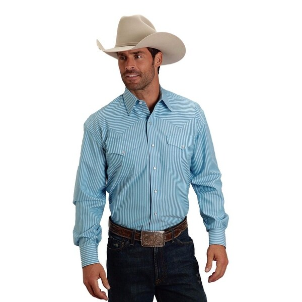 c9d385a072 Shop Stetson Western Shirt Mens Long Sleeve Turquoise - Free Shipping Today  - Overstock - 27342649