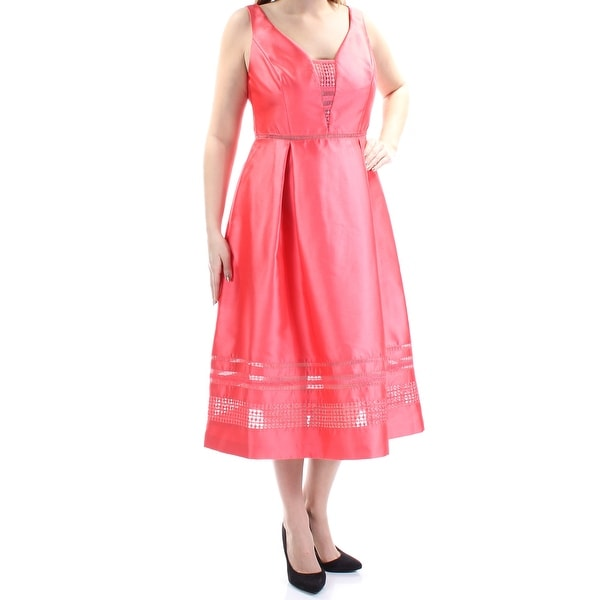 Shop ADRIANNA PAPELL Womens Coral Embroidered Mesh Sleeveless Jewel Neck  Tea Length A-Line Cocktail Dress Size  4 - Free Shipping On Orders Over  45  ... 92e6116548d6