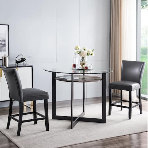 ZBY-1331-GY 2pcs PU Dining Chair - Gray