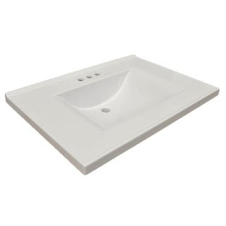 "Design House 553933 25"" Marble Drop-In Vanity Top with Integrated Sink and 3 Fau"
