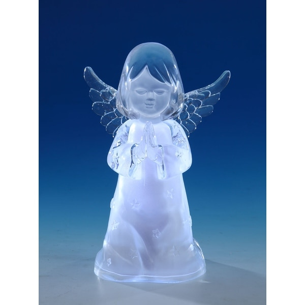 "Set of 2 Clear Decorative Cherub Girl LED Tabletop Decors 8"" - N/A"