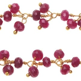 Ruby Gemstone Drops Gold Vermeil Wire Wrapped Chain 4mm Rondelles - By The Inch