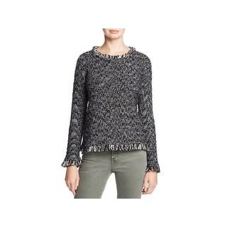 Nic + Zoe Womens Misty Pullover Sweater Fringe Marled