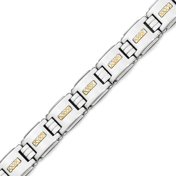 Chisel Stainless Steel Polished with 14k Gold Diamond Cut Link Bracelet